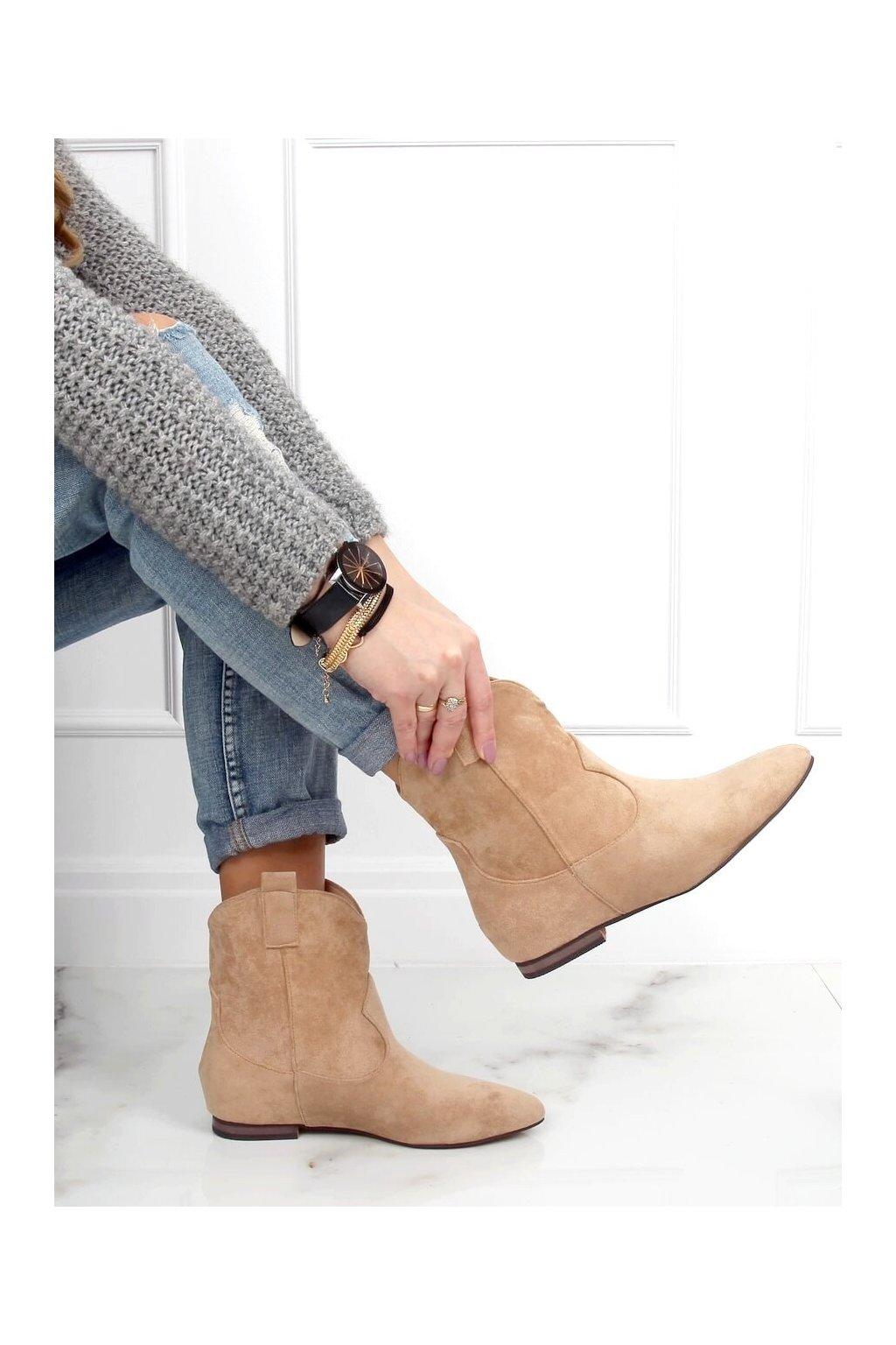 Dámske členkové topánky hnedé na plochom podpätku NC1071