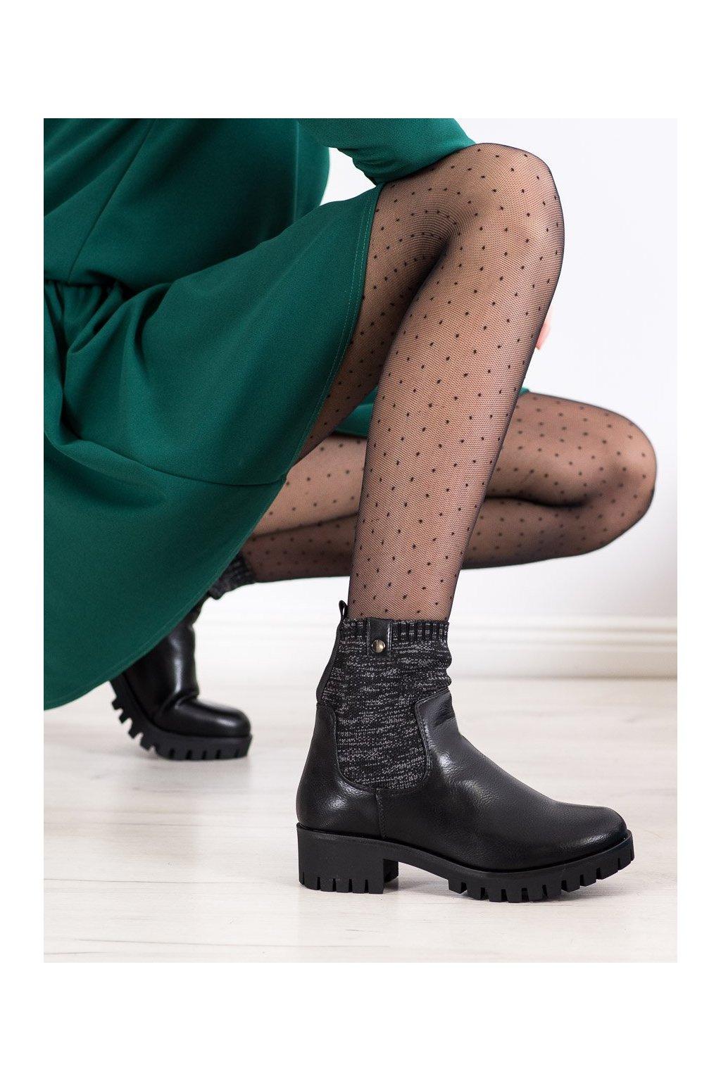 Čierne dámske topánky Daszyński kod MR1813B