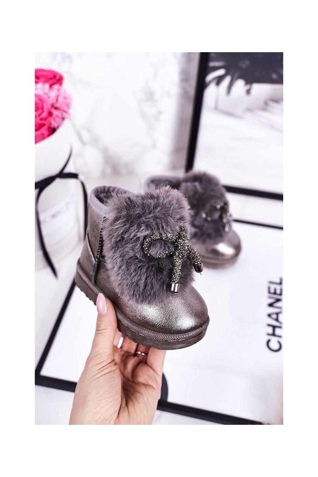 Detské snehule farba sivá kód obuvi 20228-1B/2B D.GREY