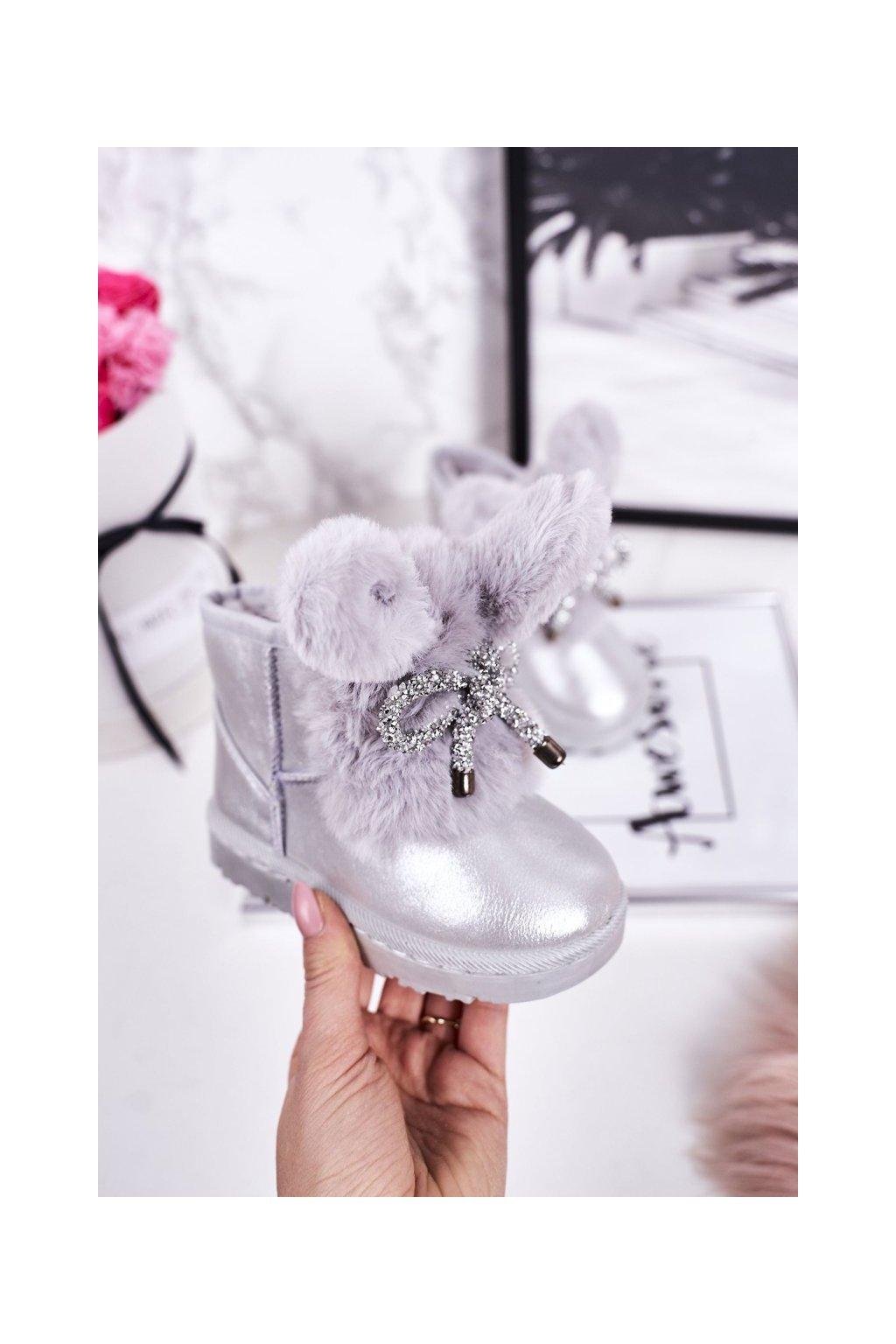 Detské snehule farba sivá kód obuvi 20218-1G/2G SILVER
