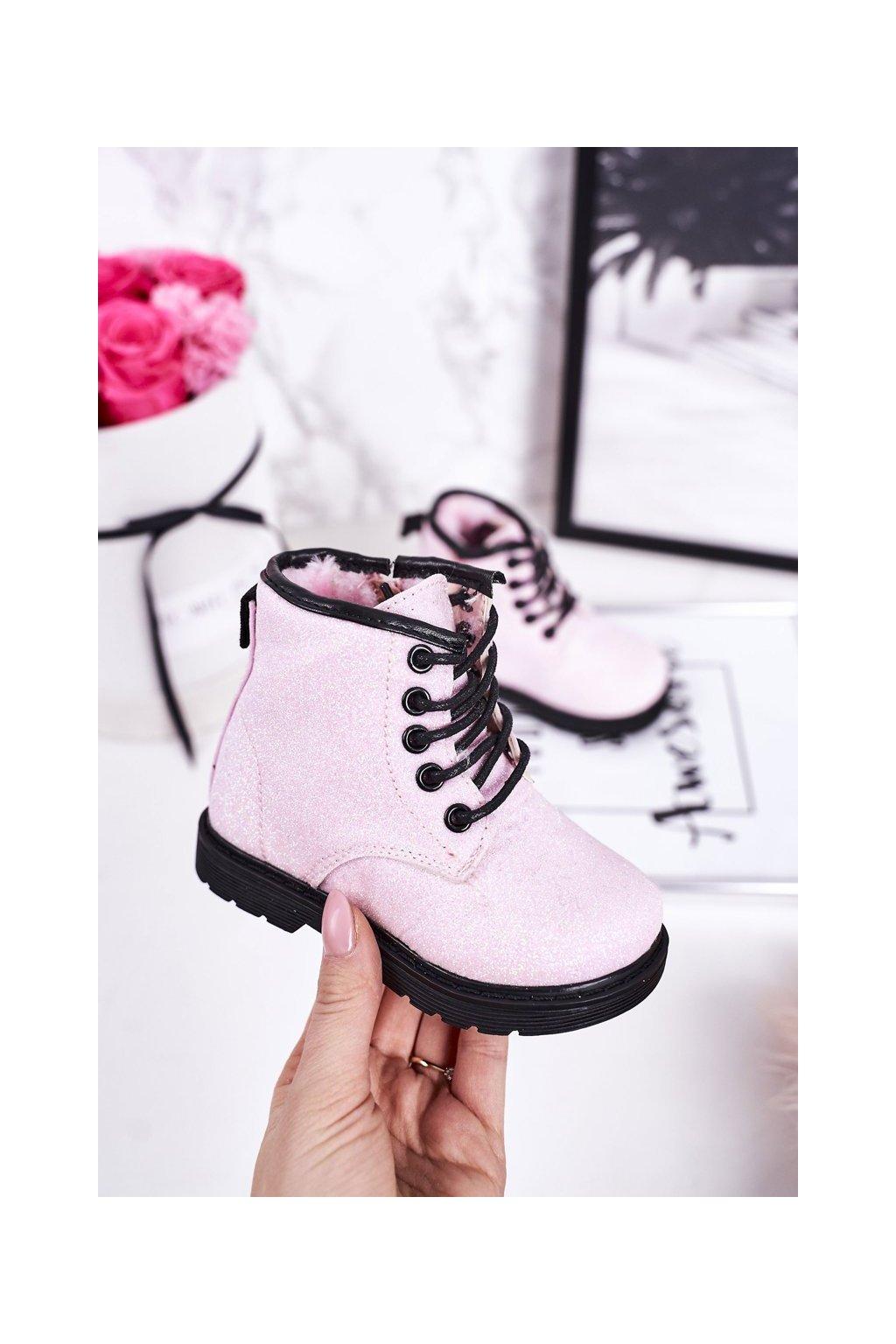 Detské členkové topánky farba ružová kód obuvi 7343-1B/2B PINK