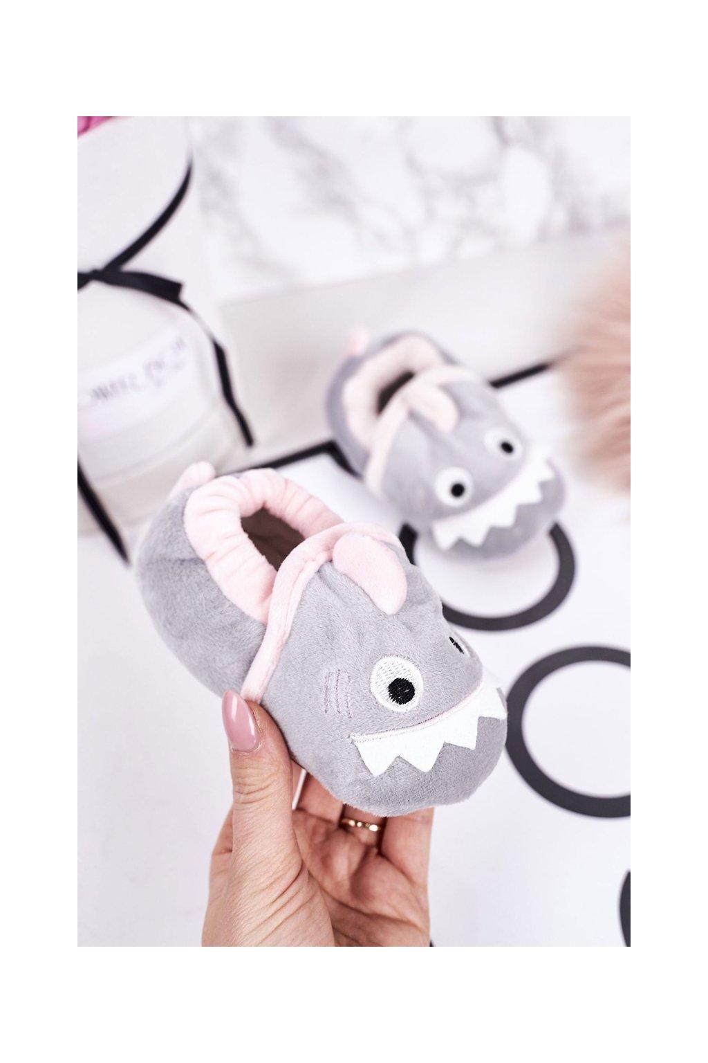 Detské šľapky farba sivá kód obuvi BM1318 GREY