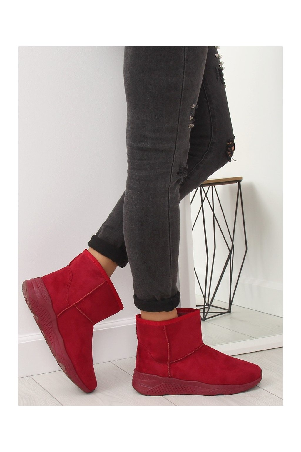 Dámske členkové topánky červené na plochom podpätku NJSK D009