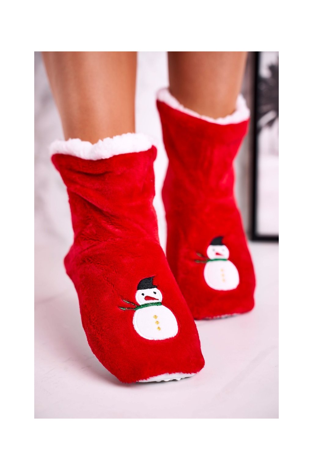 Dámske šľapky farba červená kód obuvi NM1900 SNOWMAN