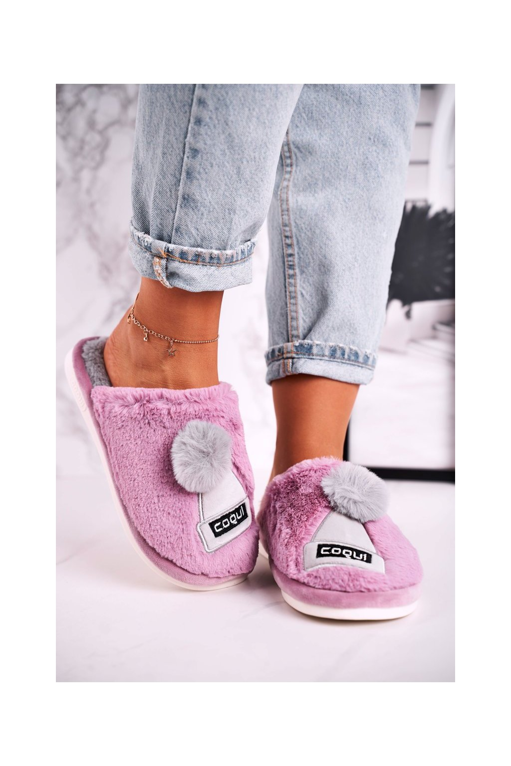 Dámske šľapky farba fialová kód obuvi 4072 VIOLET