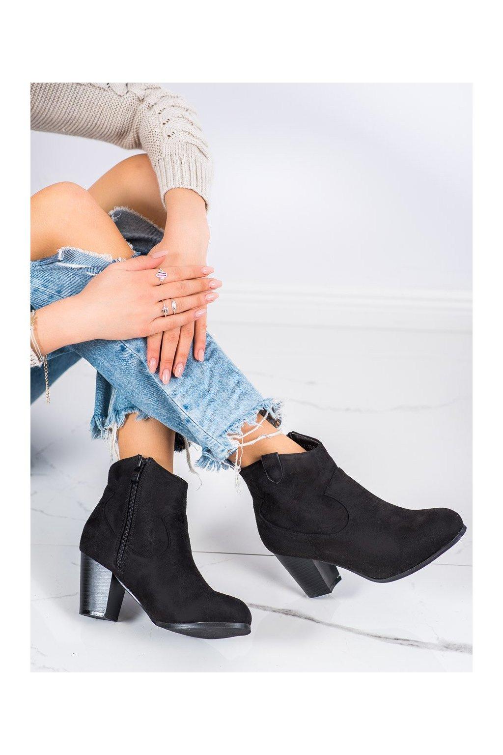 Čierne dámske topánky Abloom kod F166-5B