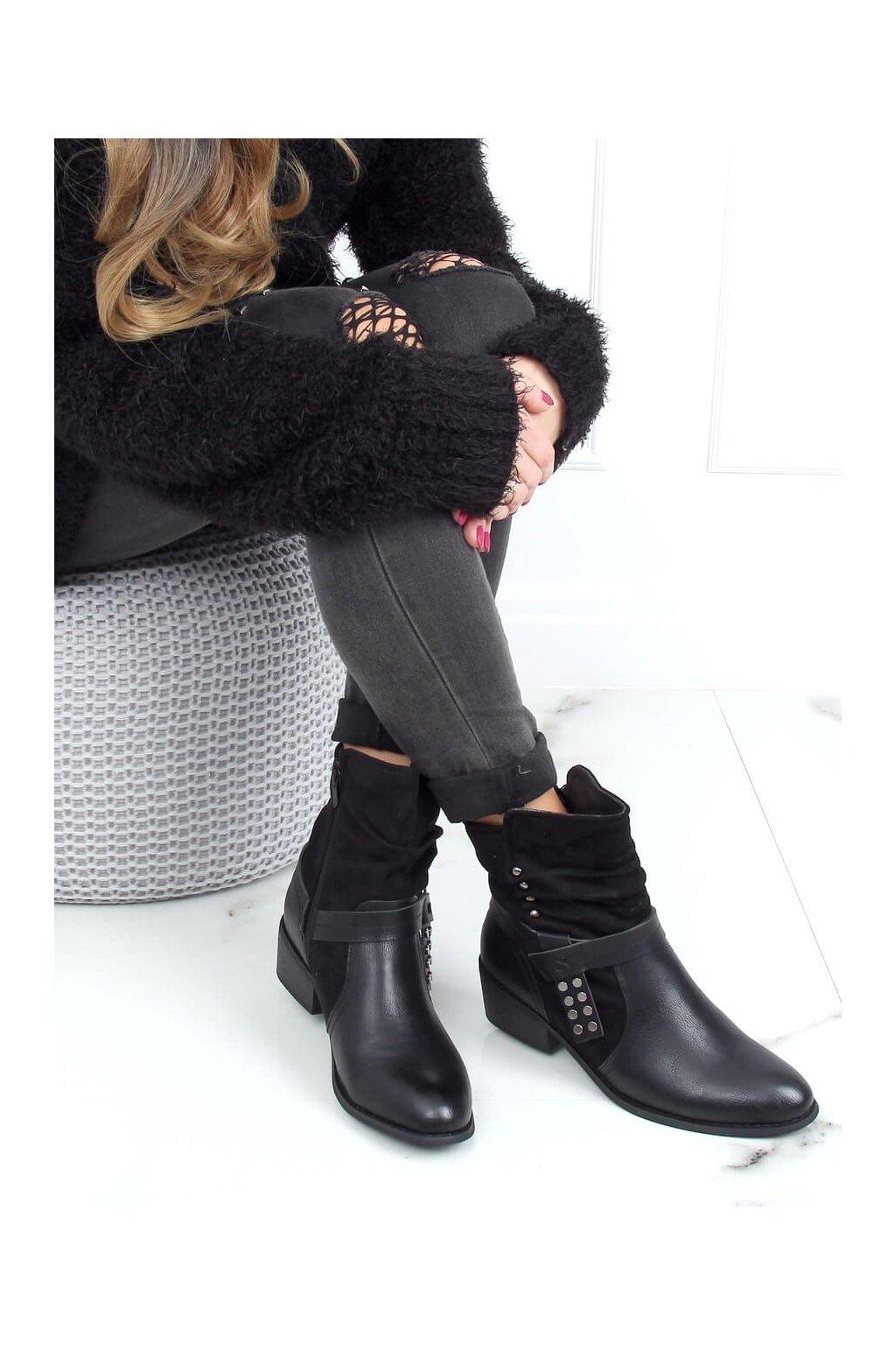 Dámske členkové topánky čierne na širokom podpätku Z1122