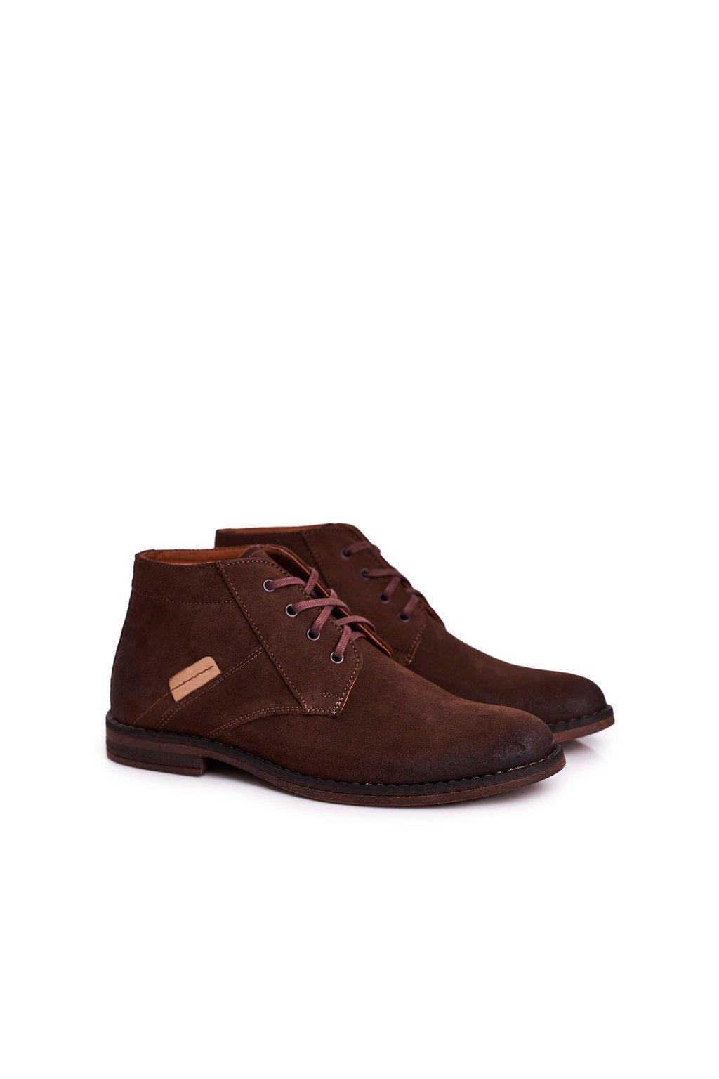 Pánske topánky na zimu farba hnedá kód obuvi 605 BROWN