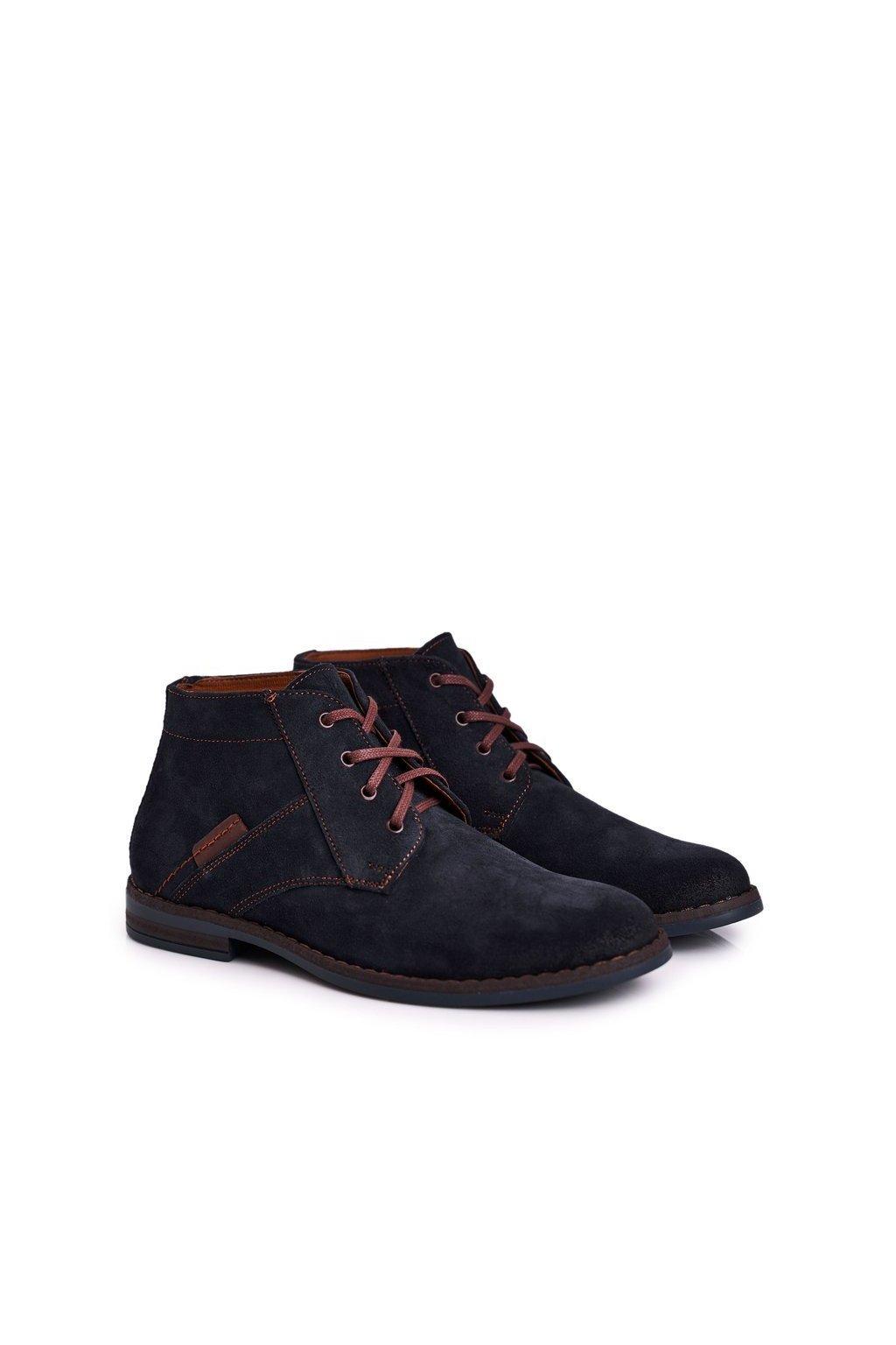 Pánske topánky na zimu farba modrá kód obuvi 605 NAVY