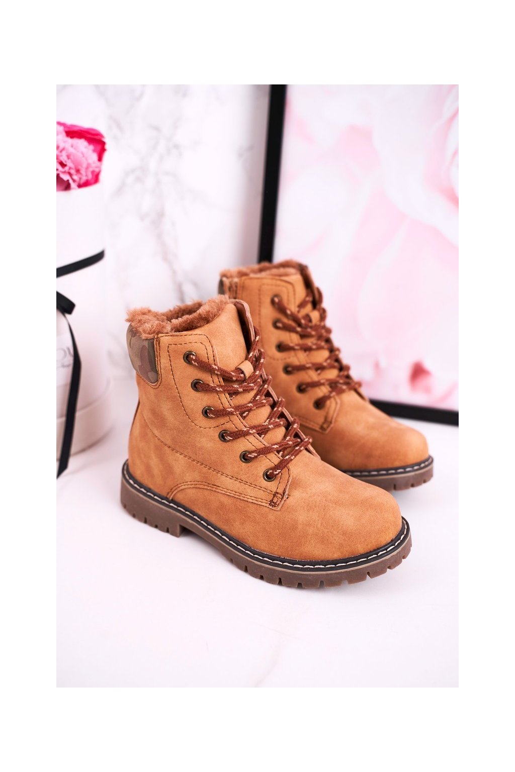 Detské členkové topánky farba hnedá kód obuvi HD158 CAMEL