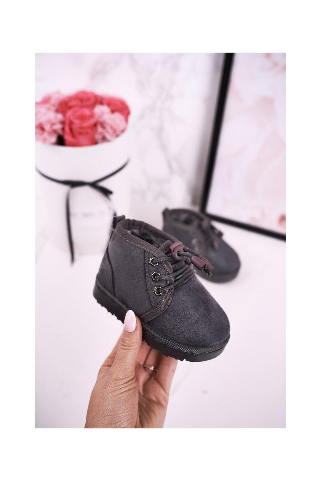 Detské členkové topánky farba sivá kód obuvi 20223-1C/2C/3C GREY