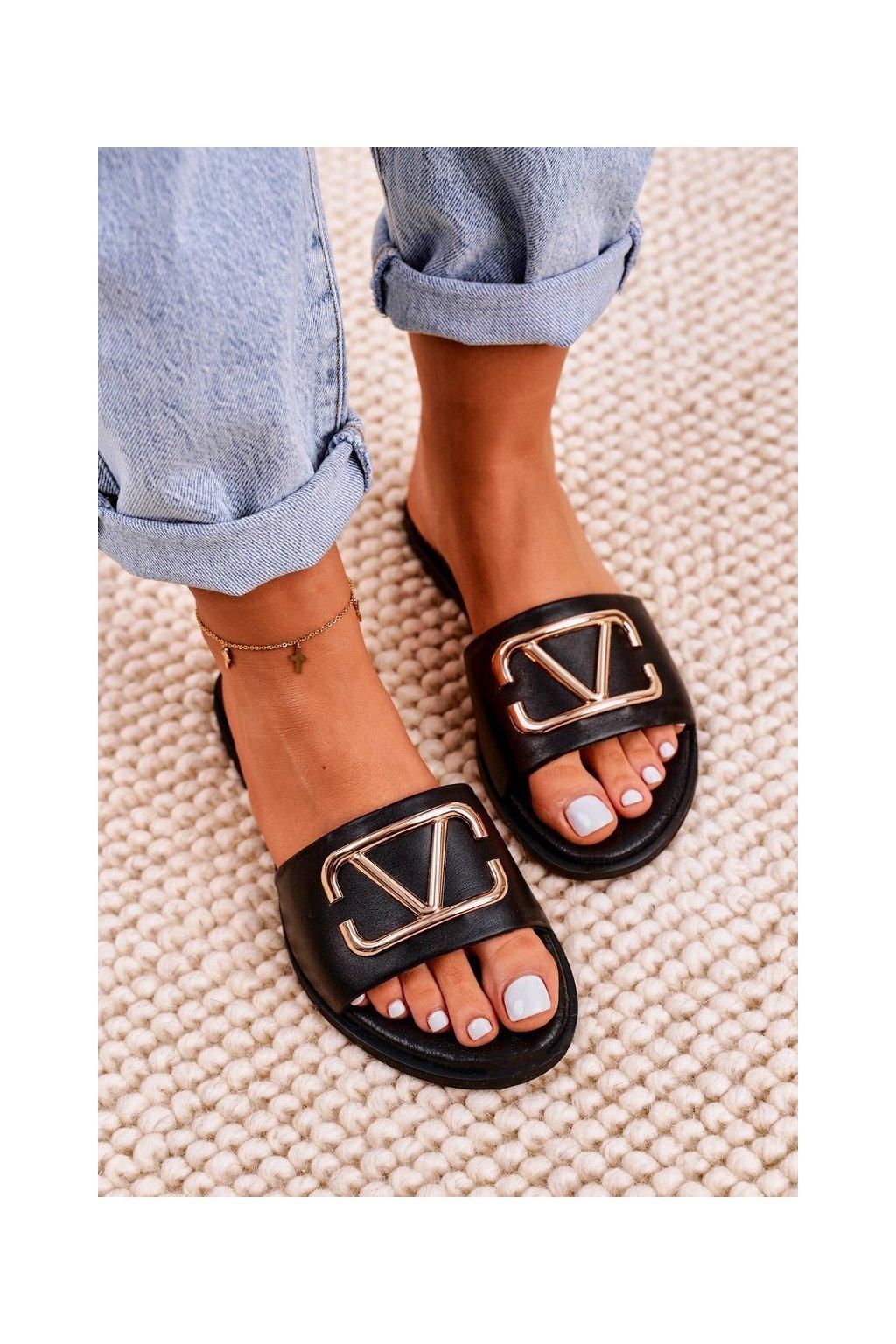 Dámske šľapky farba čierna kód obuvi 2626/001 BLK