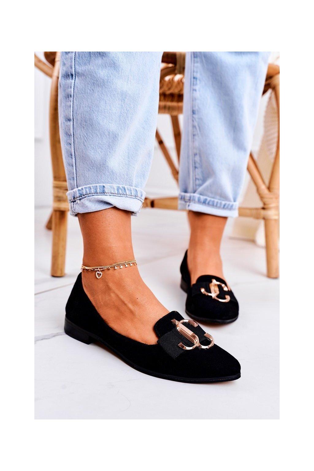 Dámske mokasíny farba čierna kód obuvi 2588/002 SUEDE BLK