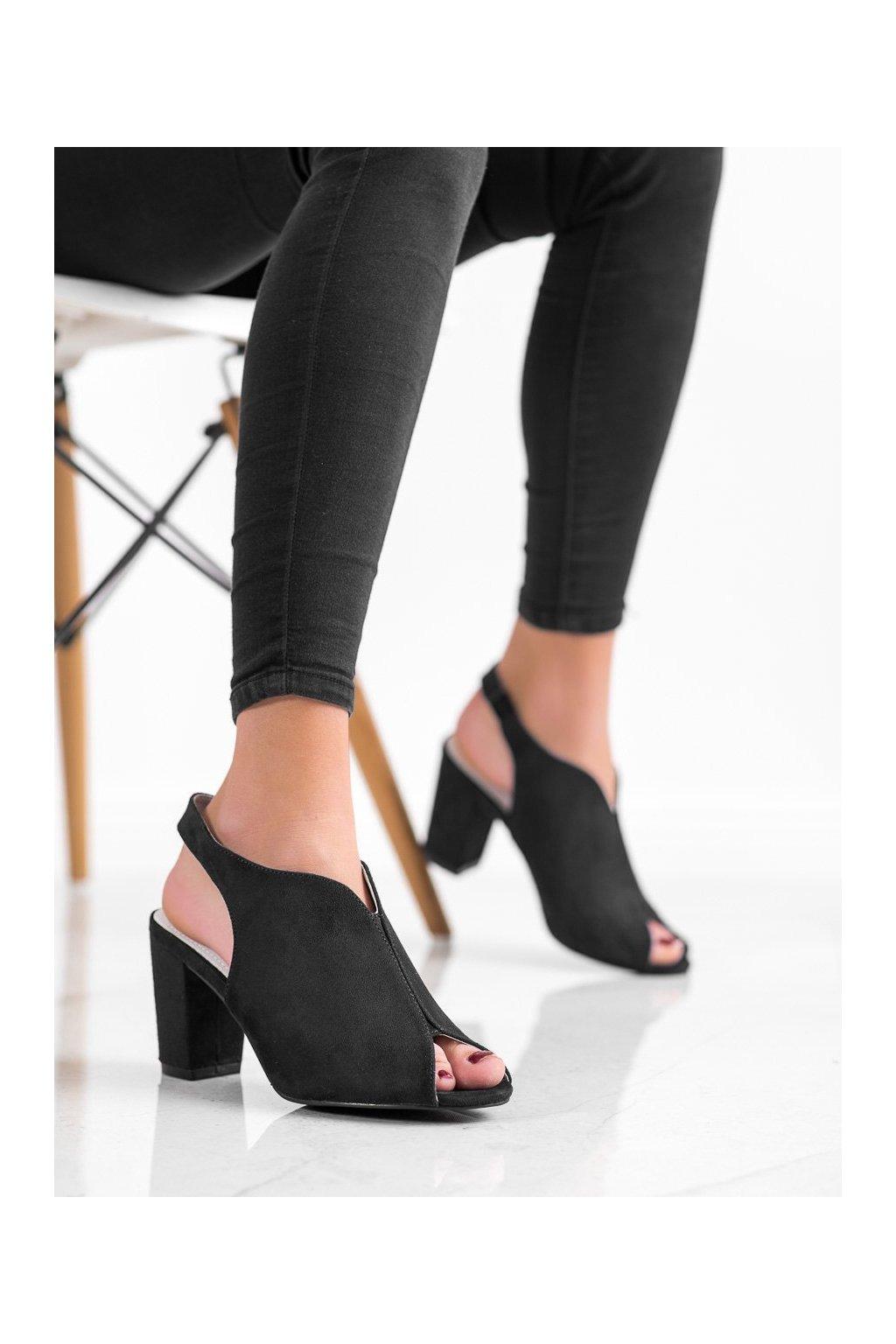 Čierne sandále na podpätku Goodin kod GD-FL1503B
