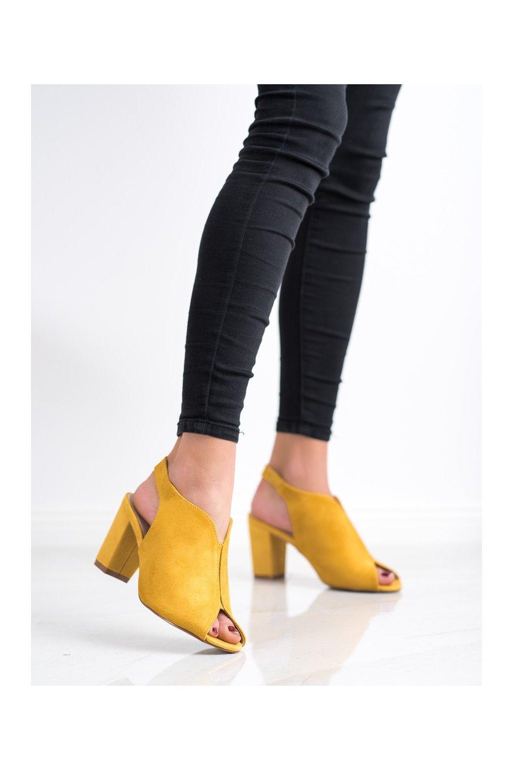 Žlté sandále na podpätku Goodin kod GD-FL1503Y