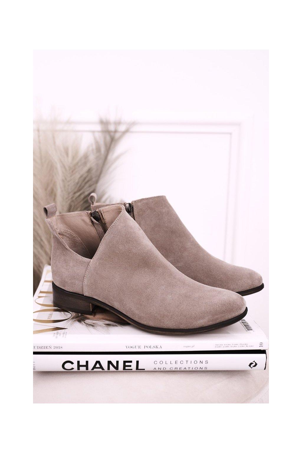 Členkové topánky na podpätku farba hnedá kód obuvi 2605/024 CAPPUCCINO