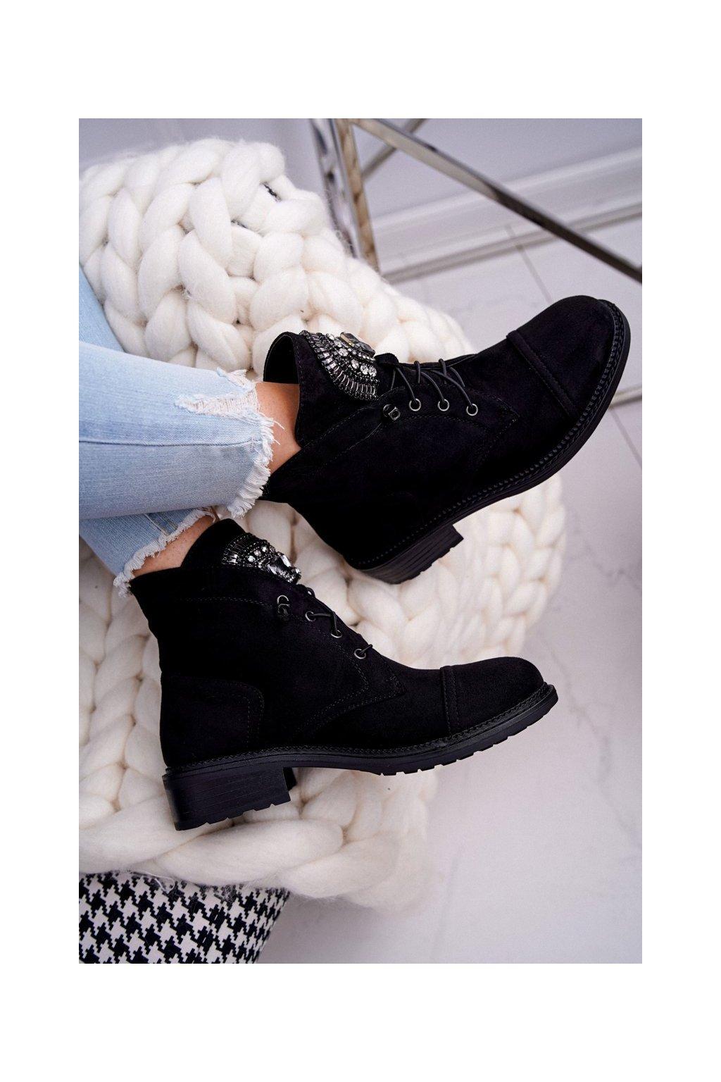 Členkové topánky na podpätku farba čierna NJSK E9315 BLK