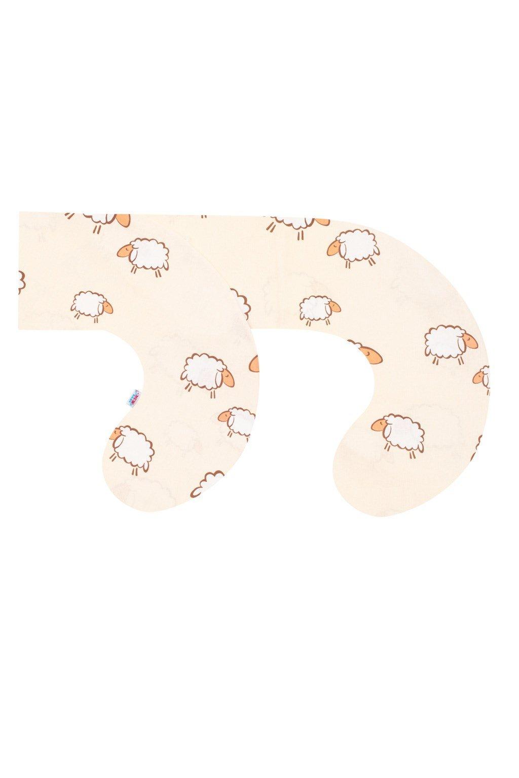 Obliečka na dojčiaci vankúš v tvare C New Baby Ovečky bežová