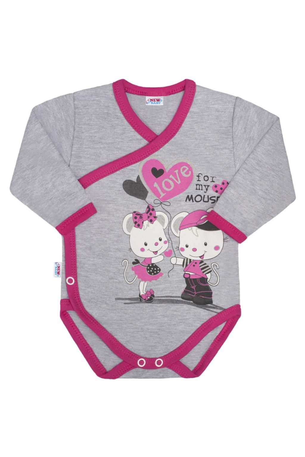 Detské body s bočným zapínaním New Baby Love Mouse