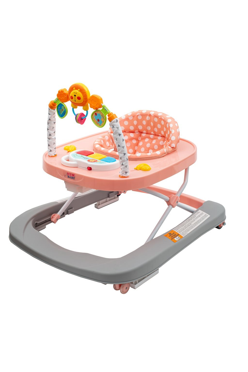 Detské chodítko so silikónovými kolieskami New Baby Forest Kingdom Pink