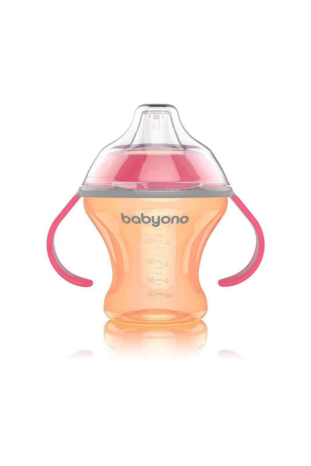 Netečúci hrnček s mäkkým náustkom Baby Ono 180 ml oranžový