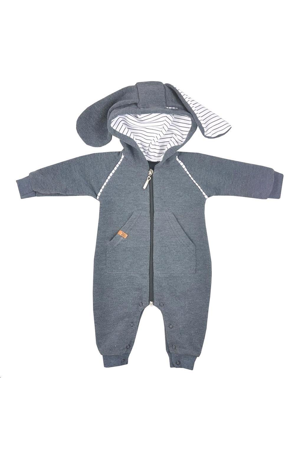 Dojčenský overal s kapucňou Koala Ušiačik sivý
