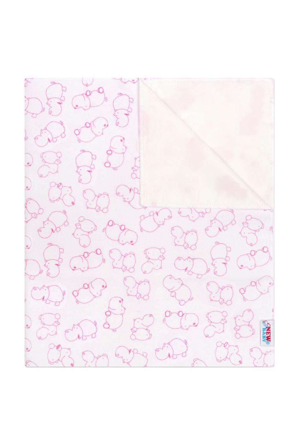 Nepremokavá flanelová podložka New Baby hrošík bielo- ružový