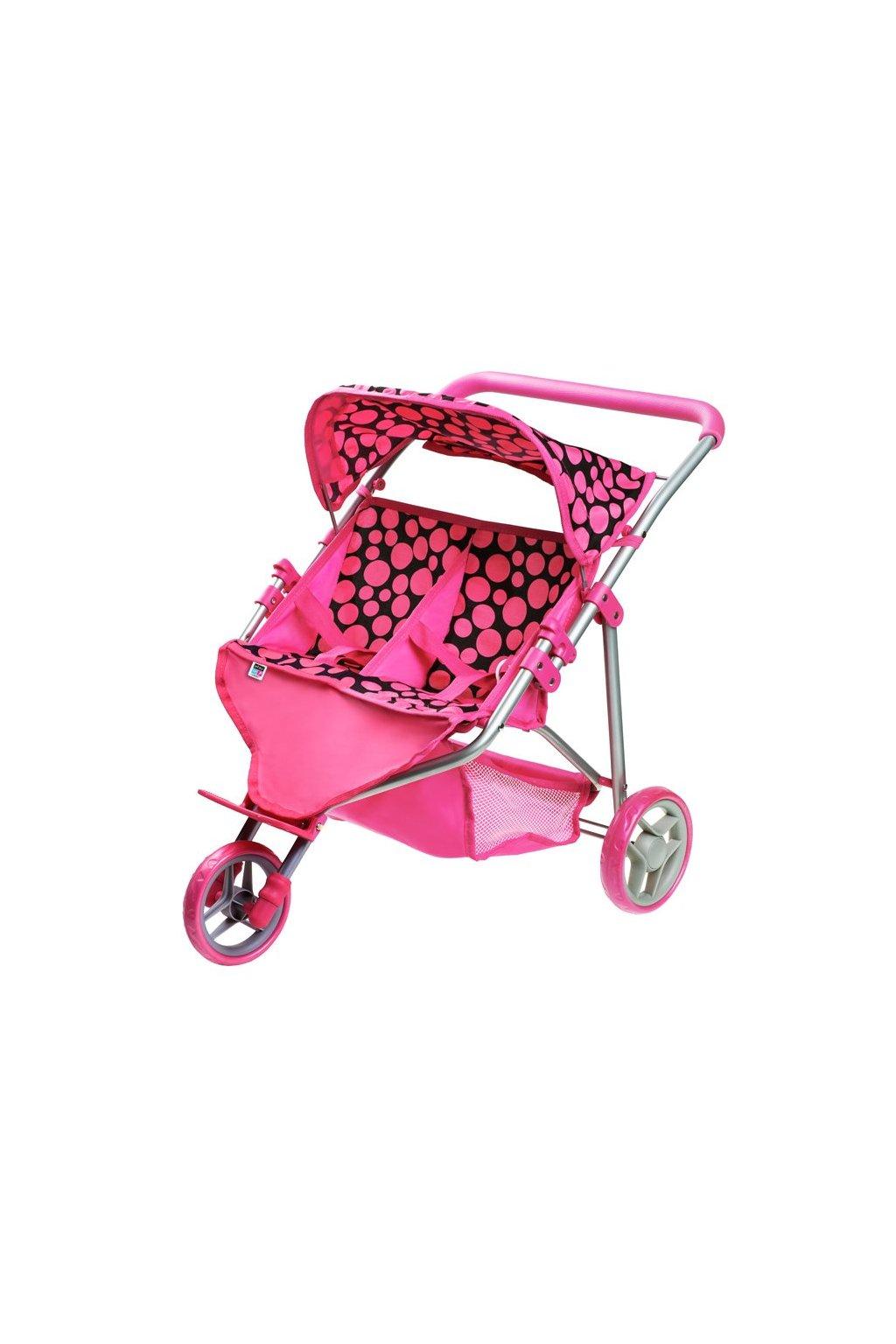 Športový kočík pre 2 bábiky PlayTo Klaudie ružový