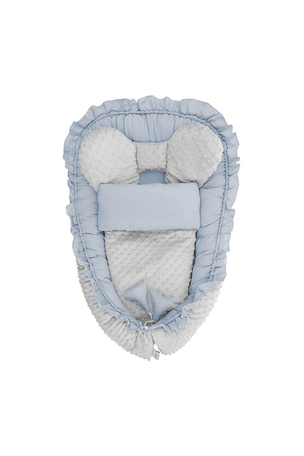 Hniezdočko s perinkou pre bábätko Minky Belisima Mouse modré