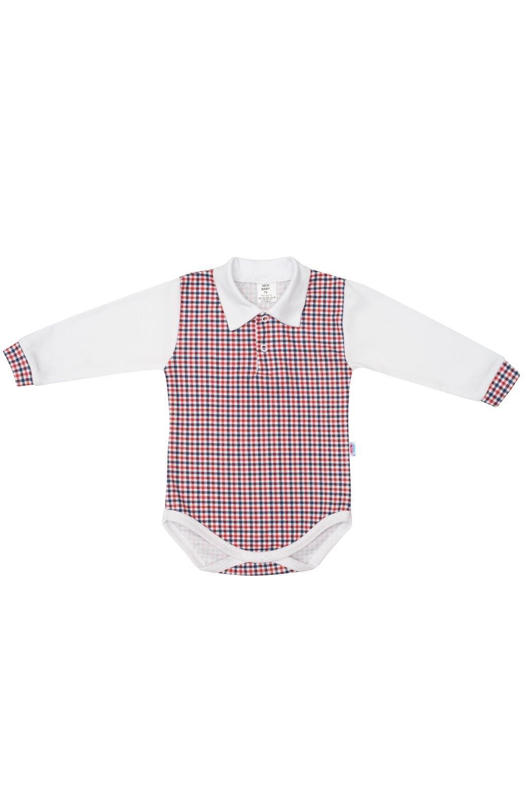 Dojčenské Polo body New Baby Checkered biele