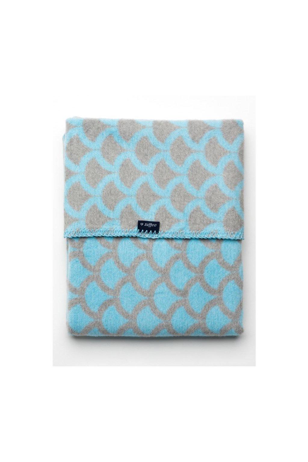 Detská bavlnená deka so vzorom Womar 75x100 modro-sivá