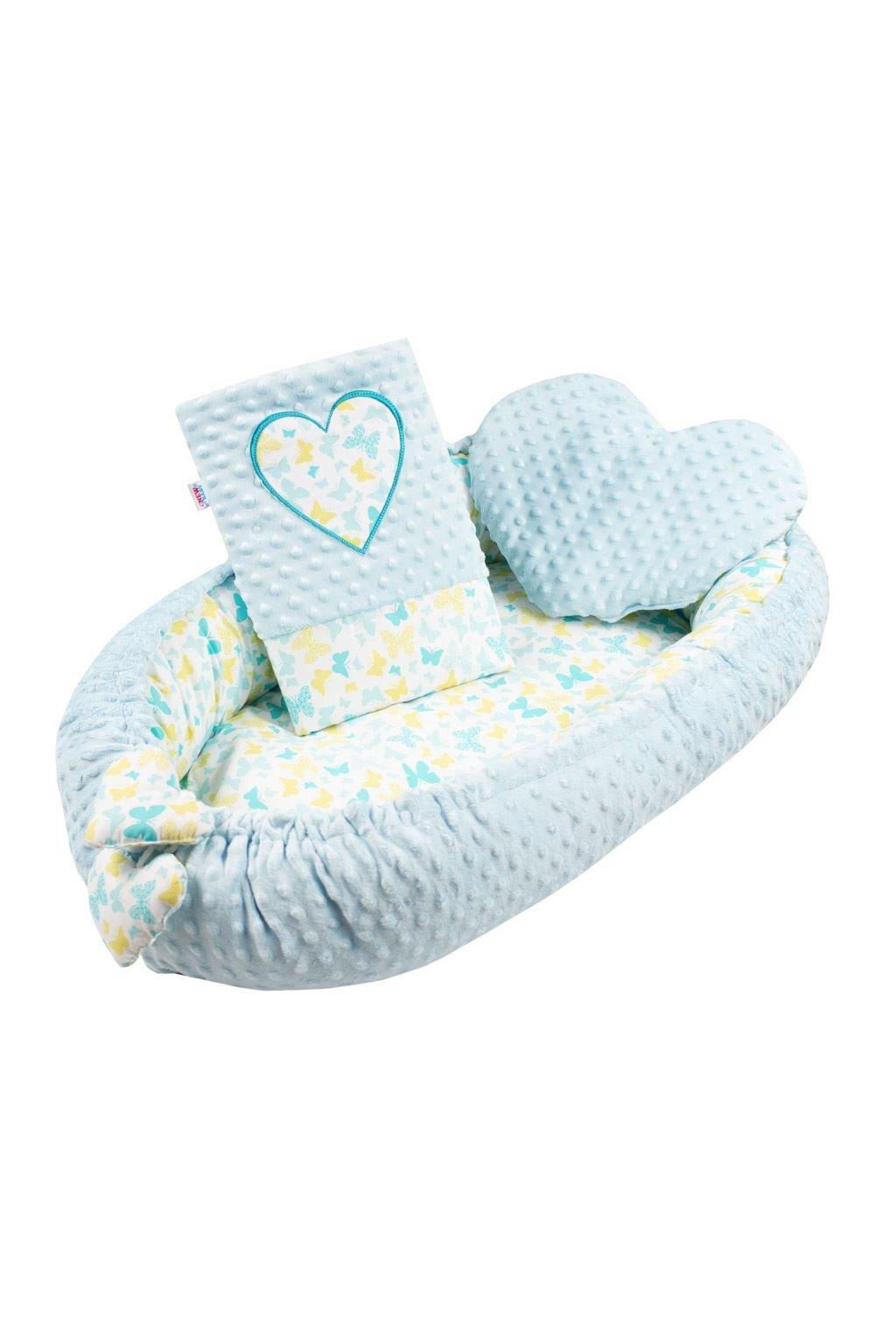 Luxusné hniezdočko s vankúšikom a perinkou New Baby Srdiečko modré