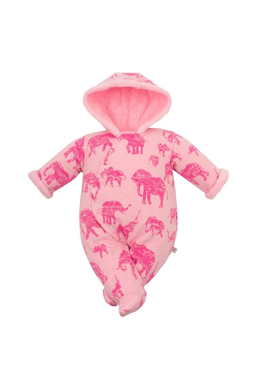Zimná dojčenská kombinéza s kapucňou Baby Service Slony ružová