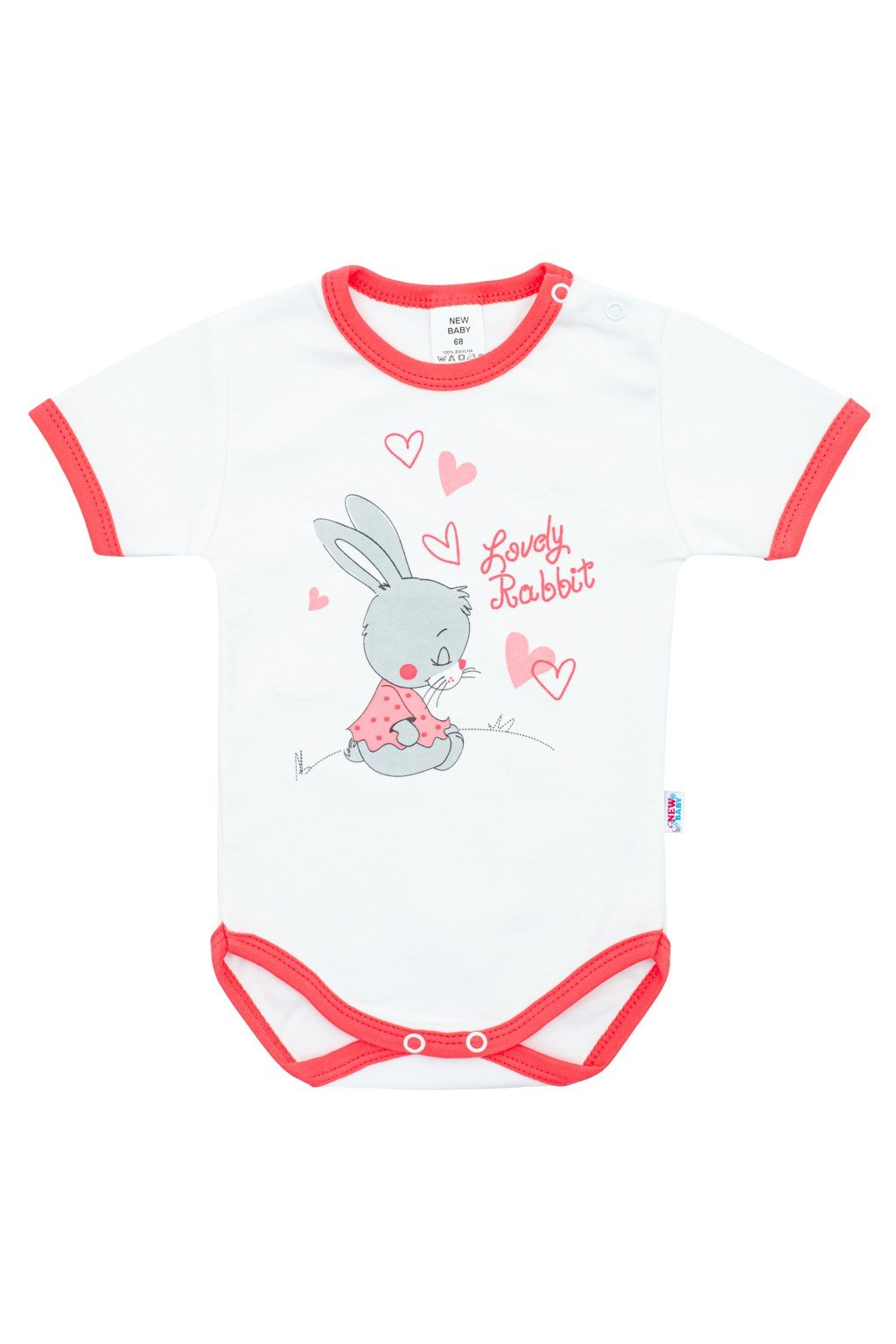 Detské body s krátkym rukávom New Baby Lovely Rabbit ružové