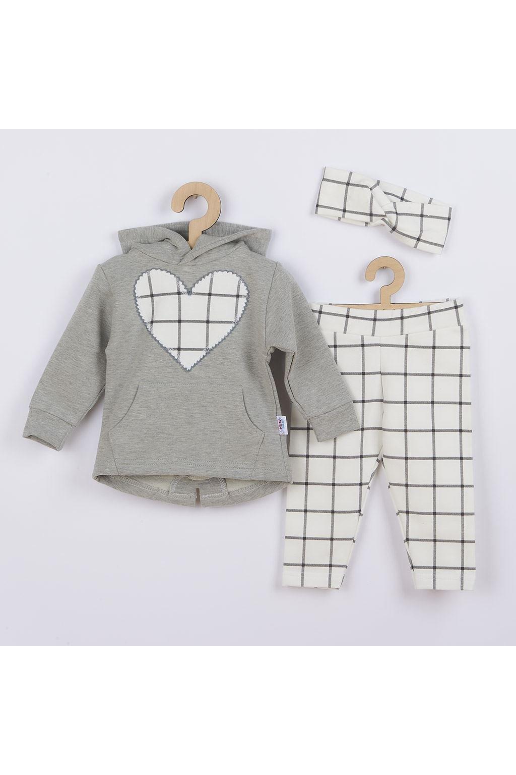 3-dielna dievčeská bavlnená súprava New Baby Cool Girls sivo-biela