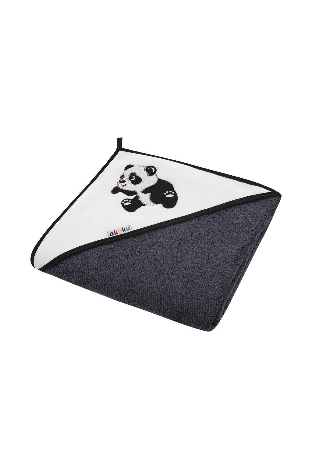 Detská osuška 100x100 Akuku černá s pandou