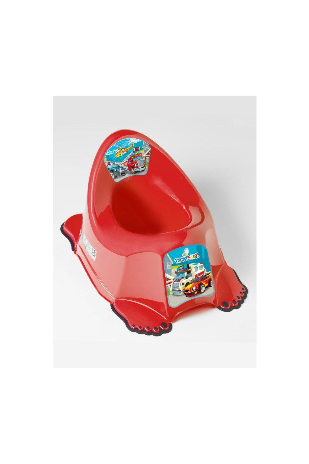 Hrajúci detský nočník protišmykový autíčka červený