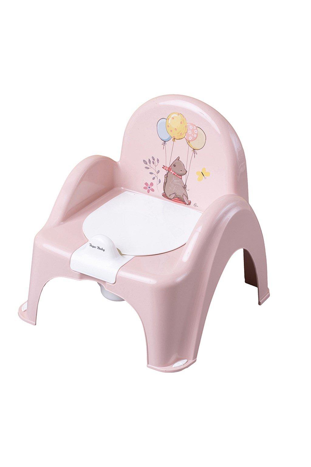 Hrajúci detský nočník s poklopom Medvedík rúžový