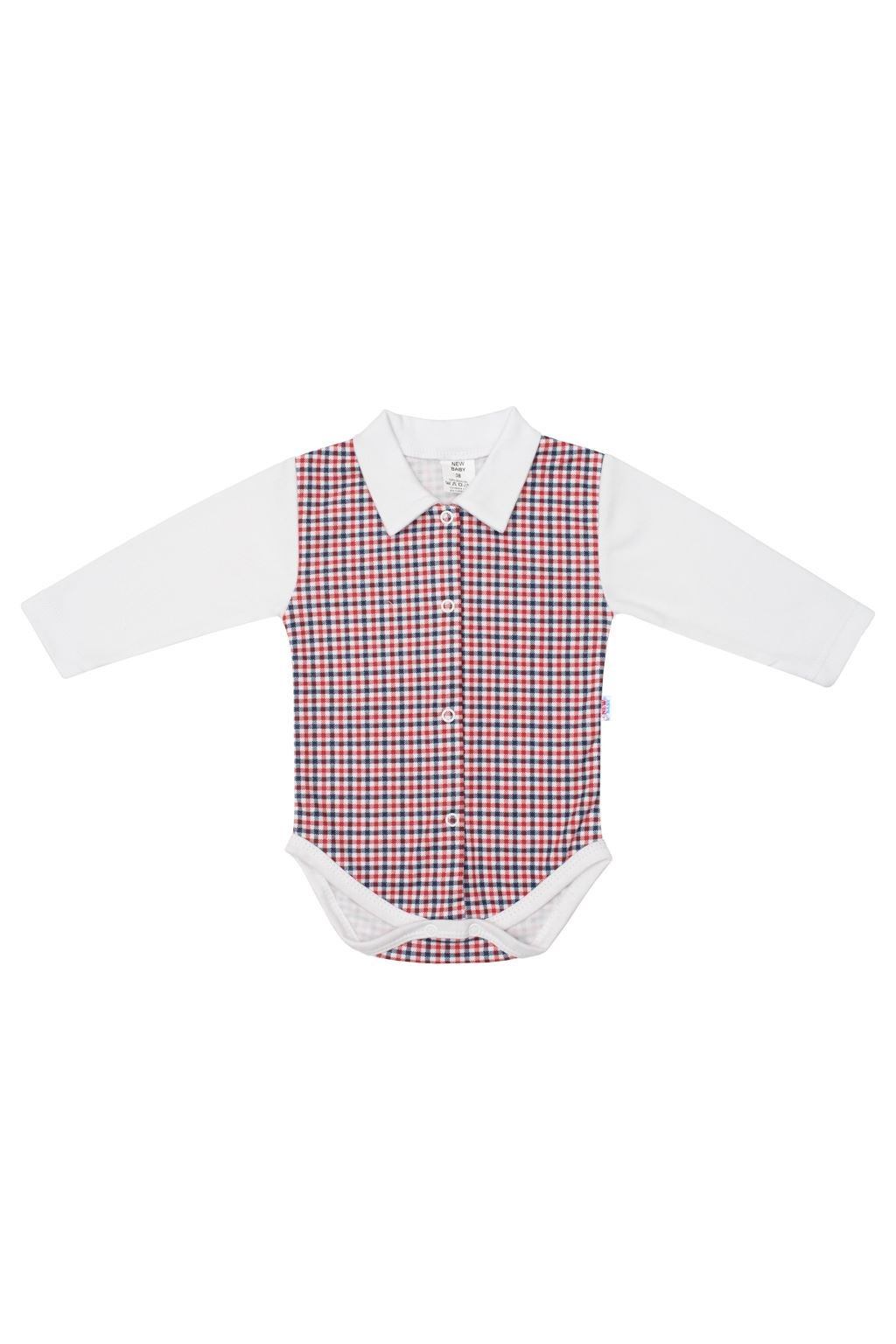 Dojčenské celorozopínacie Polo body New Baby Checkered biele