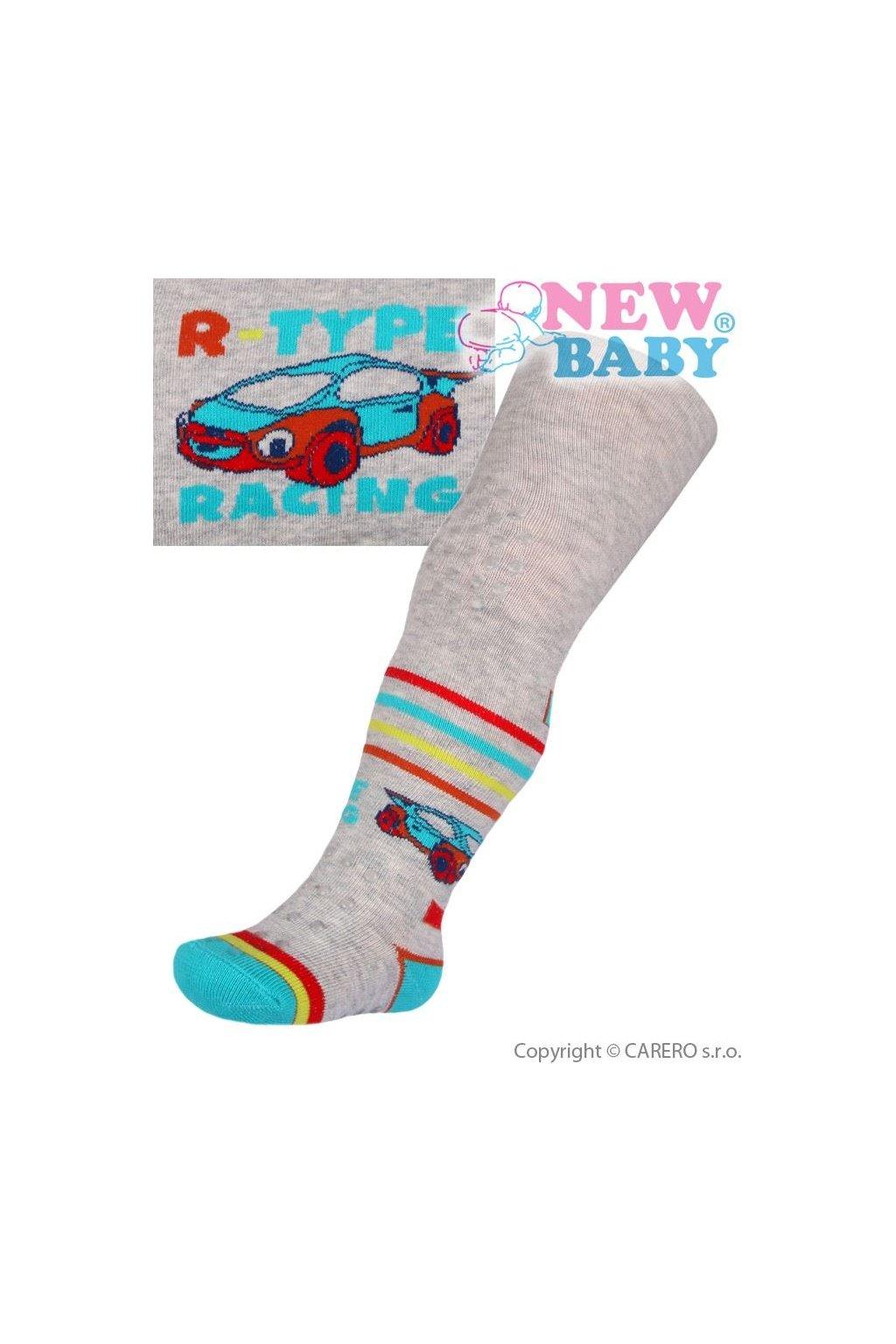 Bavlnené pančucháčky New Baby 3xABS sivé racing