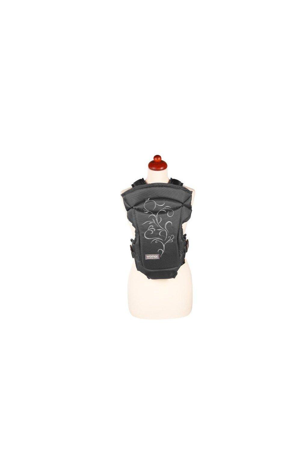 Nosítko Womar Zaffiro Butterfly čierne s bielou výšivkou