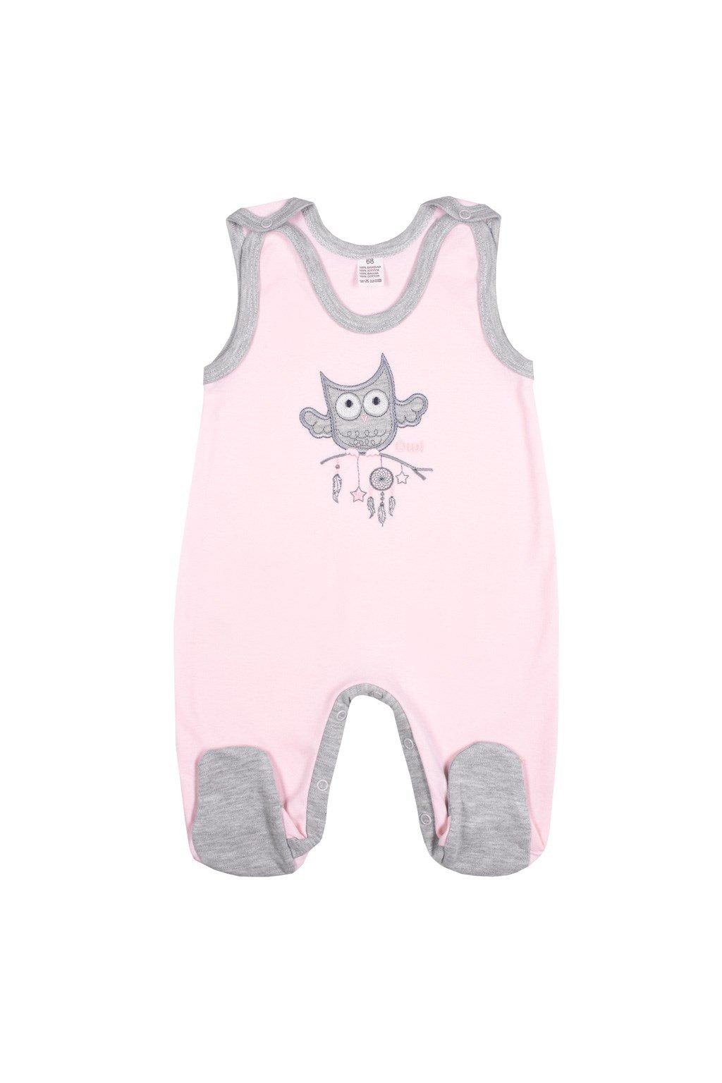 Dojčenské dupačky New Baby Owl ružové
