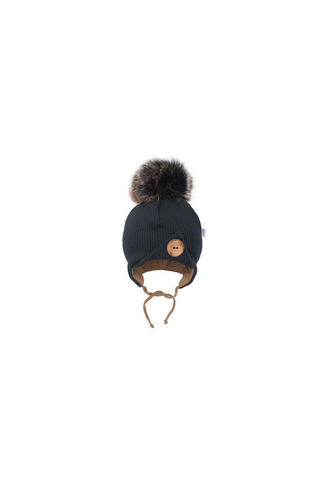Dojčenská zimná čiapočka New Baby Great čierna