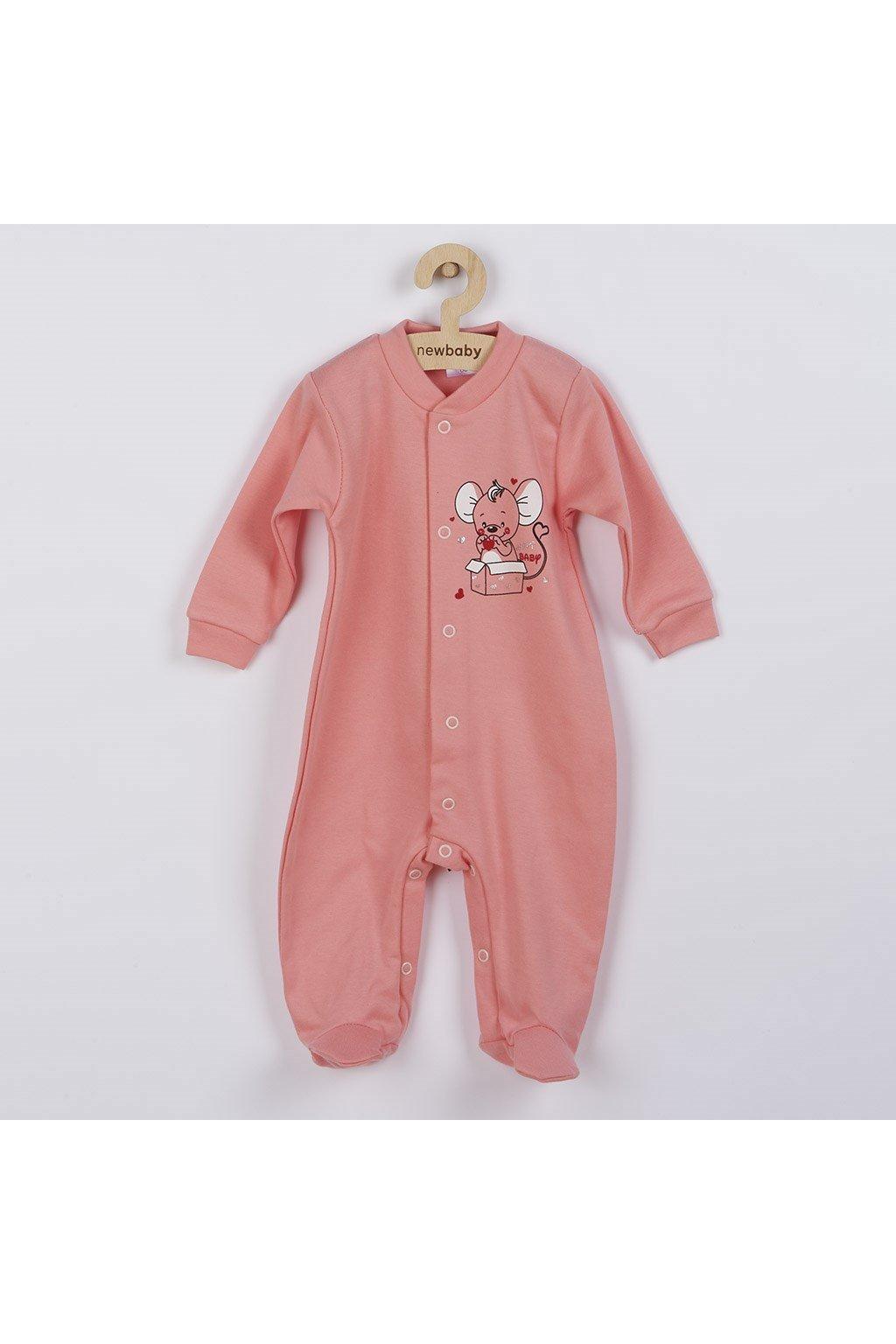 Dojčenský overal New Baby Mouse lososový