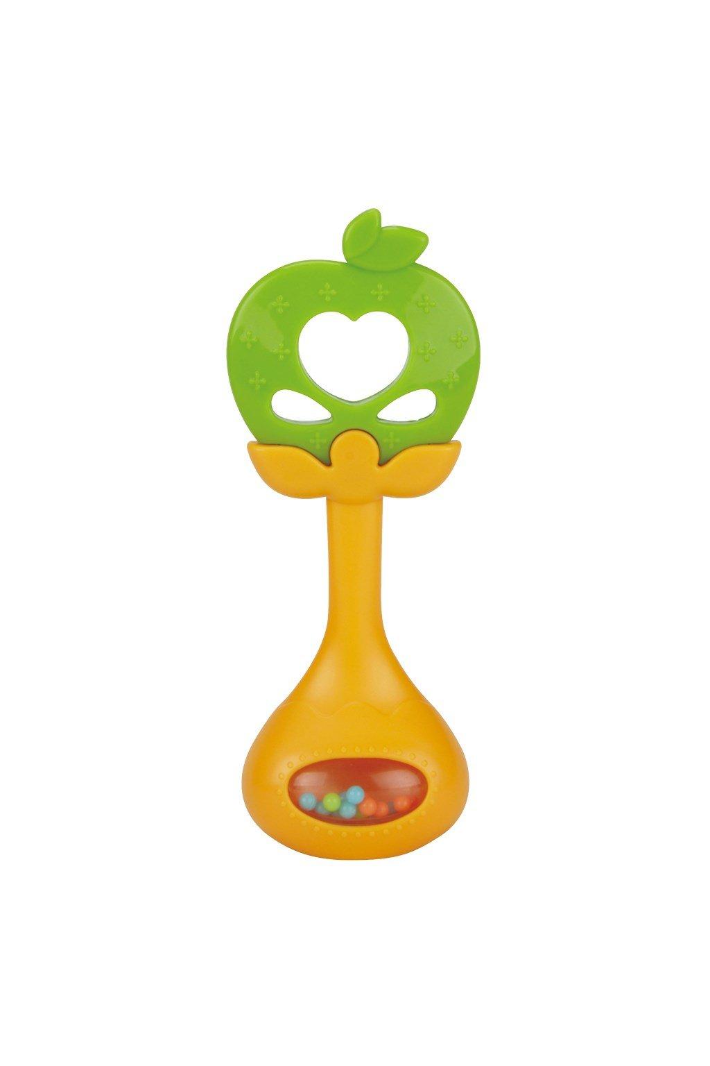 Silikónové hryzátko s hrkálkou BAYO jabĺčko