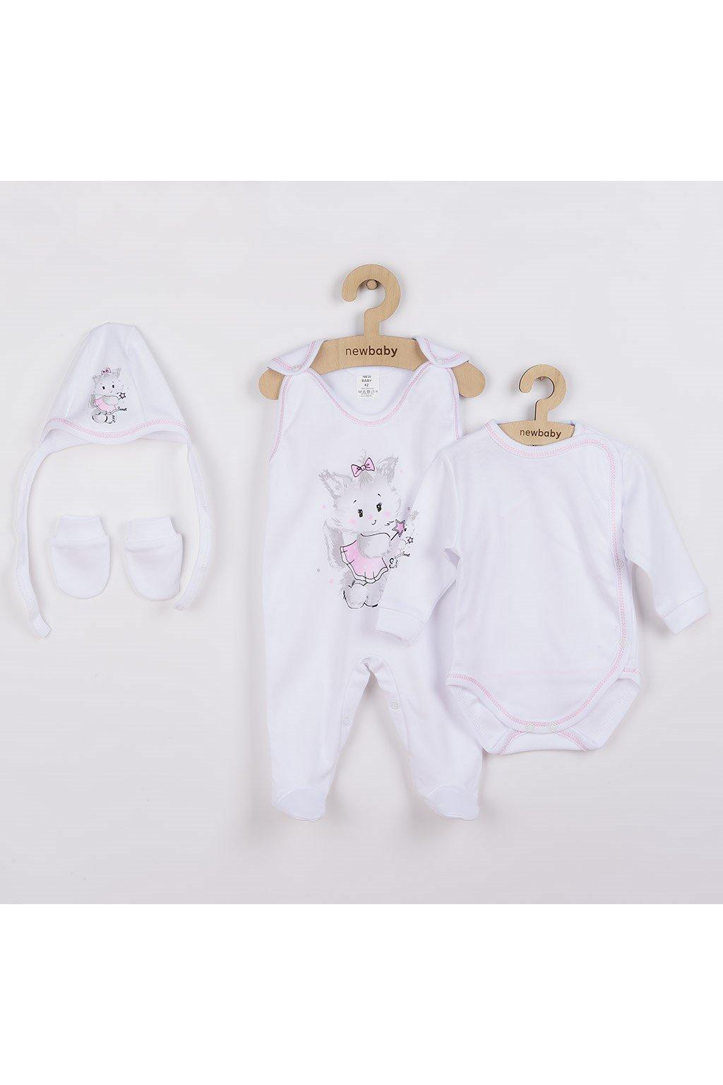 Súpravička 4-dielna New Baby Mačička bielo-ružová