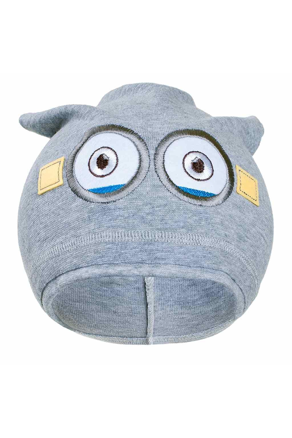 Jesenná detská čiapočka New Baby mimoň sivá