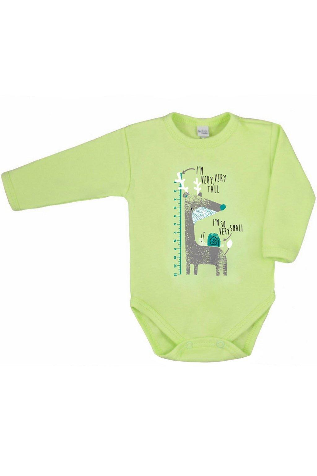Dojčenské body s dlhým rukávom Amma zelené