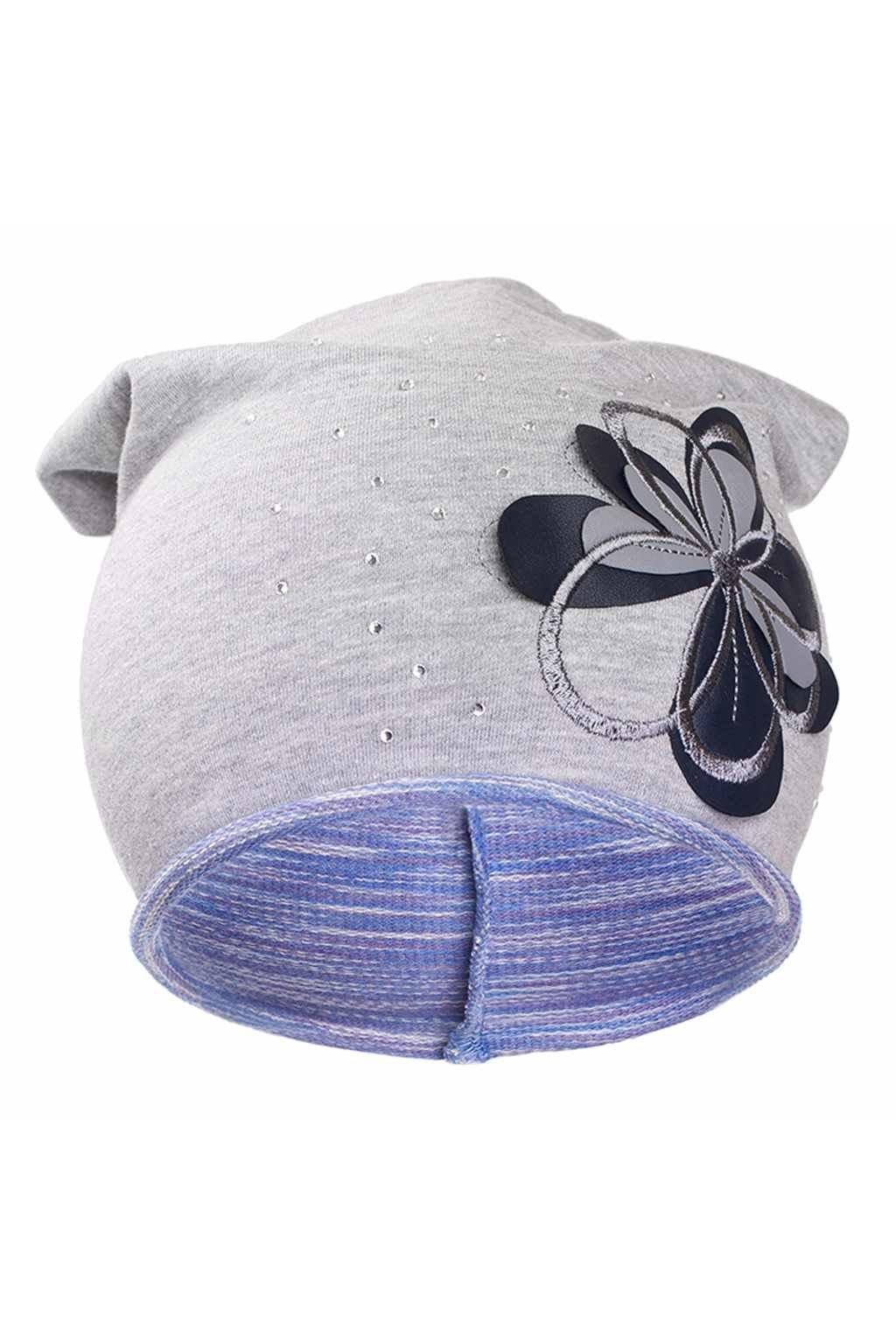 Jesenná detská čiapočka New Baby kvetinka fialová