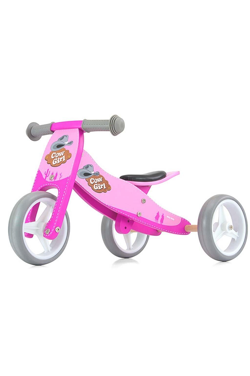 Detské multifunkčné odrážadlo bicykel 2v1 Milly Mally JAKE pink Cowgirl